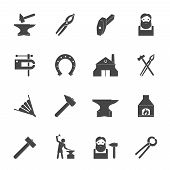 stock photo of blacksmith shop  - Decorative blacksmith shop anvil vise tools graphic icons set isolated vector illustration - JPG
