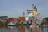 Brunsbuettel - Container Vessel At Lockage To The Kiel Canal