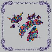 Hand Drawing  Flowers And Border