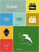 Landmarks of Dubai. Set of color icons in Metro style. Editable vector illustration.