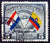 Postage Stamp Paraguay 1945 Handshake, Map And Flags