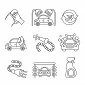 Car wash icons outline
