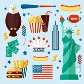 picture of skyscrapers  - New York USA set of liberty statue skyscraper fast food isolated vector illustration - JPG