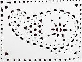 Perforated Paisley Ornament On White Leather