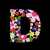 picture of letter d  - Vector flower font - JPG
