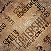 Leadership Background - Grunge Wordcloud Concept.