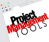 Project Management Tools words on a website screen as an online resource