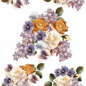 Floral Seamless Pattern With Roses, Lilac And Violets