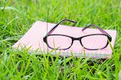 Book And Spectacles Lying On Lush Green Grass In Summer Sunshine