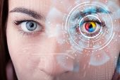 Future woman with cyber technology eye panel concept