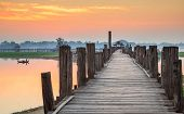 image of u-boat  - Ubein Bridge river at sunrise Mandalay Myanmar - JPG