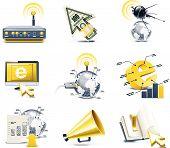 Conjunto de iconos de Vector comunicación. Internet, parte 1