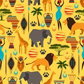 stock photo of african lion  - African ethnic seamless pattern with stylized icons - JPG