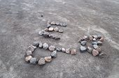 Letters And Heart From Stone On Volcano Merapi