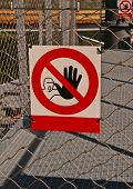 pic of no entry  - Close up of no entry sign on the fence - JPG