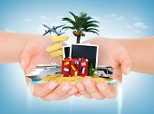 Travel Concept. Hands Holding Iceland With Palm, Suitcase, Photoframe, Sign And Transport