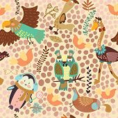 Cute Seamless Pattern With Cute Various Birds.penguin, Ostrich, Eagle, Owl, Duck, Quail, Bird