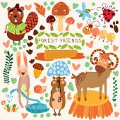 Vector Set Of Cute Woodland And Forest Animals.gopher,beaver, Goat, Ant, Ladybug, Rabbit, Mosquito,
