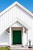 Gardermoen, Norway - May 20, 2014:white Wooden Traditional Architecture In Norway On May 20, 2014 In