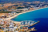 mallorca, can picafort, aerial shot city, beach and sea