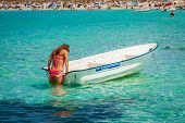 Girl  In Boat  At Formentera Balearic Islands