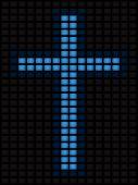 Cross of blue screens