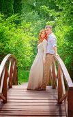 Just married, beautiful couple on wooden bridge in the park, perfect wedding day, romantic and gentl