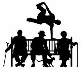 Editable vector silhouette of a young man vaulting over three elderly people on a park bench with al