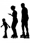 Silhouette of a parents and child on skates