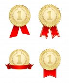 award medal with ribbon gold icons set