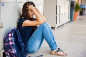 stock photo of drama  - Teenage girl stressed out about some high school drama - JPG