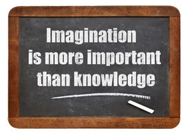 stock photo of einstein  - Imagination is more important than knowledge  - JPG
