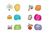 Set of drawing finance stickers icon