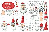 Santa Claus face maker.Constructor image set