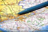 Closeup map of city Philadelphia for travel destination driving