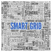stock photo of smart grid  - Close up blue SMART GRID Text at the Center of Word Tag Cloud on White Background - JPG