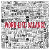 Close up Red WORK LIFE BALANCE Text at the Center of Word Tag Cloud on White Background.