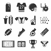 Black icons vector collection for American football