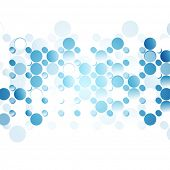 Blue abstract circles on white background. Vector tech design