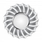 Metallic silver logo background. Vector design