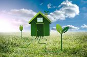picture of earth structure  - Clean energy house against sunny landscape - JPG