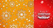 Snow falling against snowflake wallpaper pattern
