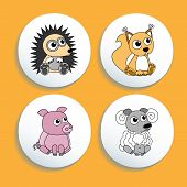 Set Of Buttons With Animals