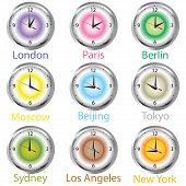 Relojes colores con zona horaria