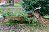 stock photo of sleigh ride  - Merry christmas one old sleigh of wood - JPG
