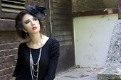picture of gothic girl  - Beautiful girl in a gothic inspired outfit. ** Note: Soft Focus at 100%, best at smaller sizes - JPG