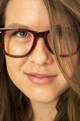 Girl Wearing Big Glasses Hair Over One Eye