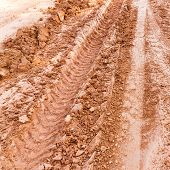 Tire Track On Lateritic Soil