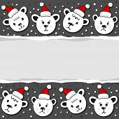 Polar bears in Santa Claus hats Christmas winter holidays horizontal card with torn paper on dark