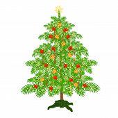 Christmas Tree With Ribbon Vector